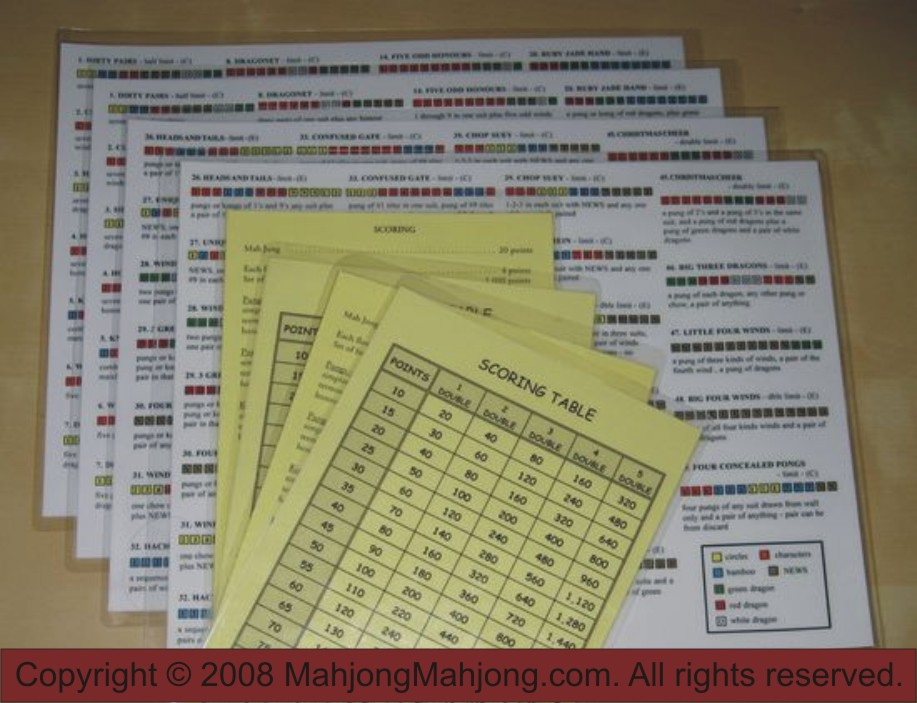 Mah Jong Cheat Sheets for sale